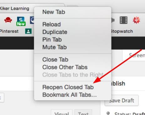 how to open last closed tab mac